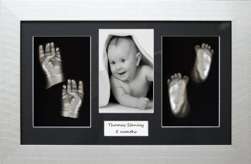 Large / Twins Baby Casting Kit, 14.5x8.5'' Silver Frame, Black 4 hole mount, Silver metallic paint by BabyRice by Anika-Baby