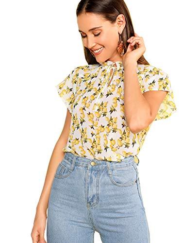 (WDIRARA Women's Fashion Tie Neck Floral Print Cap Sleeve Frill Blouse Top Multicolor S )
