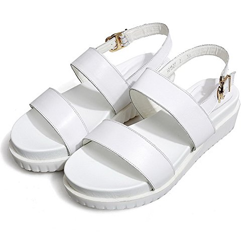 AmoonyFashion Womens Solid Cow Leather Low Heels Open Toe Buckle Sandals White XBjIpY17Lf