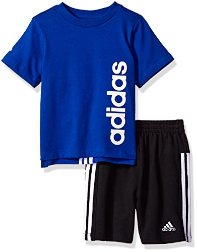 adidas Baby Boys Short Sleeve Tee and Short Set, Collegiate Royal, 24M Adidas Clothes