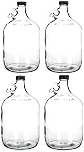 Home Brew Ohio Glass Water Bottle Includes 38 mm Polyseal Cap, 1 gallon Capacity, Clear, 4