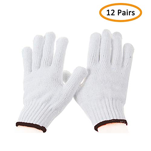 Work Gloves Cotton Heavy Duty - For 12Pairs White Gloves Men, Women BBQ Thicker Industry Knitted Cut Resistant All-weather Customer Support ()