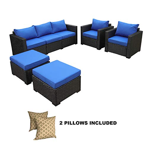Rattaner Outdoor Wicker Sofa Set -5 Piece Patio PE Rattan Garden Sectional Conversation Cushioned Seat Couch Furniture Set Royal Blue Cushion