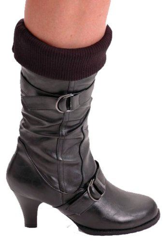 EyeCatchShoes - Sienna Mid Calf Faux Leather Ribbed Heel Boots Black wLkl6f