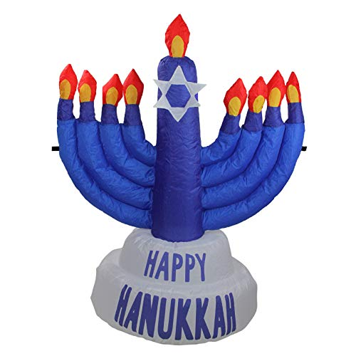 tokochristmascentral Northlight 3.5' Inflatable Blue Menorah Hanukkah Outdoor Decoration ()