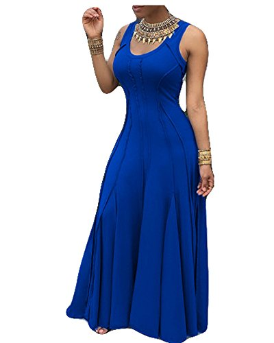 - Imily Bela Women's Sleeveless Pleated Swing Maxi Cocktail Dress Floor Length (Large, Blue)
