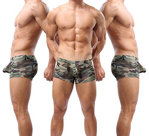 Forest Mens Underwear,Sexy Camouflage Military Low Rise U Pouch Underwear Boxer Brief