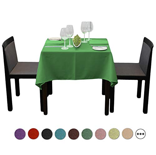 SilkFun Square Tablecloth 54 x 54 inch - Solid Polyester Table Cover for Wedding Restaurant Party Banquet, Green Table Cloth
