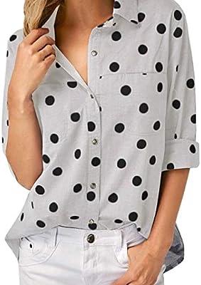 Camisas Mujer,Modaworld Camisa de Oficina de Trabajo de Mujeres Camisetas de Manga Larga con Estampado de Puntos Casual Blusas Elegantes señoras Tops Camisa ...