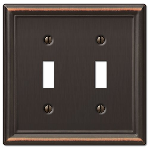 Amerelle Chelsea Double Toggle Steel Wallplate in Aged -