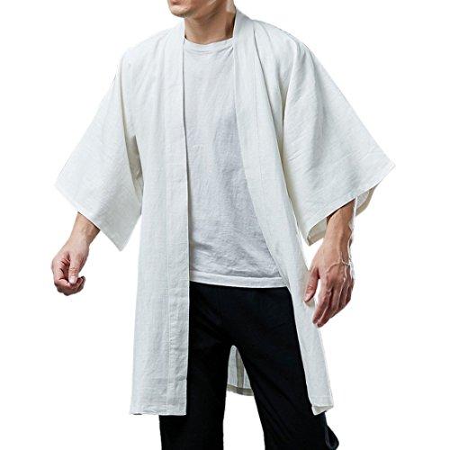 Cardigan Devant 4 100 3 Coton Homme Lin Ai Manches Ouvert Blanc moichien qHHRa