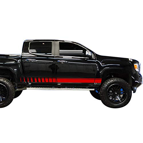 Bubbles Designs Set of Racing Side Stripes Decal Sticker Graphic Compatible with GMC Canyon Crew Cab