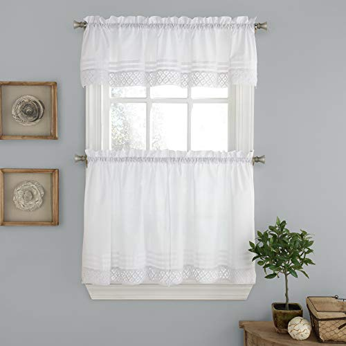 Sweet Home Collection Kitchen Window Curtain 3 Piece Set with Valance and Choice of 24