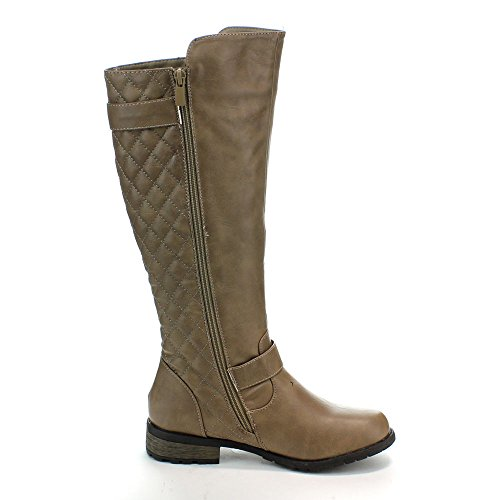 21 Women's Accent Taupe Boots Mango Riding Forever Zipper Link Quilted qZHUt
