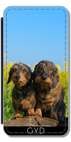 Leder Flip Case Tasche Hülle für Apple Iphone 7 / Iphone 8 - Zwei Niedliche Dackel Hunde Dackel by Katho Menden