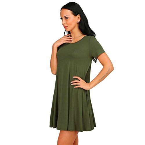 ZhiYuanAN Las Nuevas Mujeres de Cuello Redondo Manga Corta a Camiseta Floja Mini Vestido Ejército