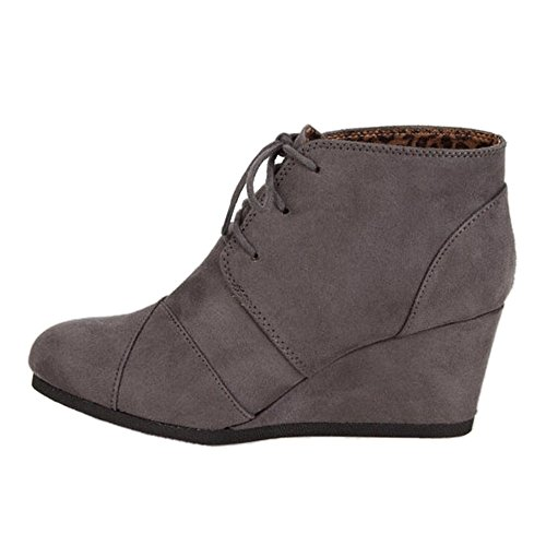 High Heel S Up REX Charcoal Lace Wedge Boots Classified Bootie Women's City qwC0x4Aq