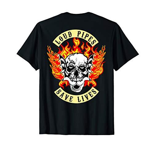 Mens Loud Pipes Save lives Biker Christmas Gift tee Shirt