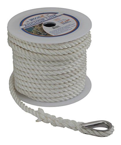 Sea Dog 301112150WH-1 Twisted Nylon Anchor Line with Thimble, 1/2