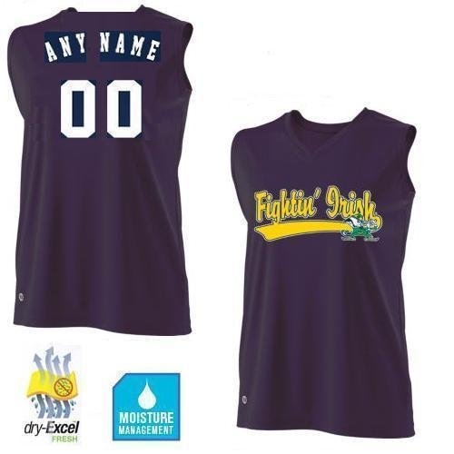 Authentic Ncaa Jersey - Ladies Medium Notre Dame Fighting Irish CUSTOMIZED Sleeveless Cool-Base Wicking dry-Excel NCAA Officially Licensed Replica Jersey Shirt