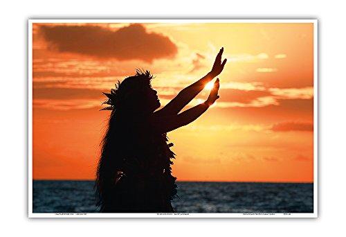 - to Ask A Blessing (Pule Ho_op_Maika_i) - Hula Dancer at Sunset - Original Color Photograph by Randy Jay Braun - Hawaiian Master Art Print - 13 x 19in