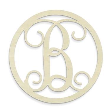 UNFINISHEDWOODCO Single Letter Circle Monogram-B, 19-Inch, Unfinished