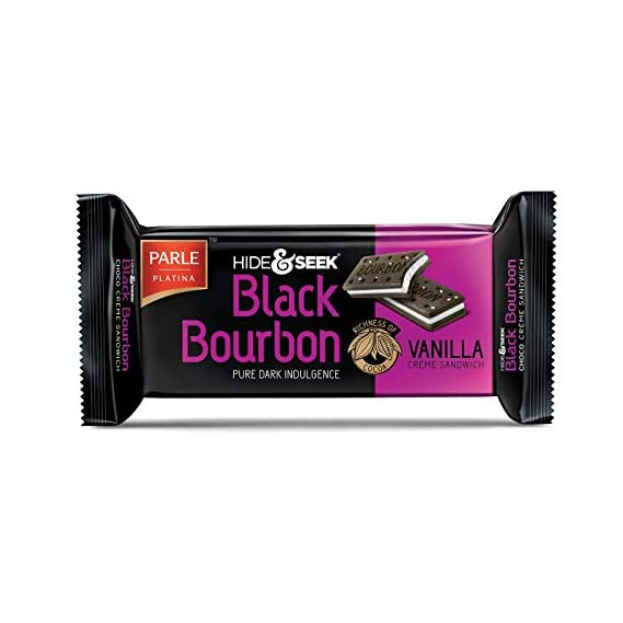 Parle Hide and Seek Black Bourbon Biscuit - Vanilla, 100g Pouch