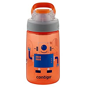 Contigo Auto Seal Gizmo Sip Kids Water Bottle, 14-Ounce, Nectarine Robots
