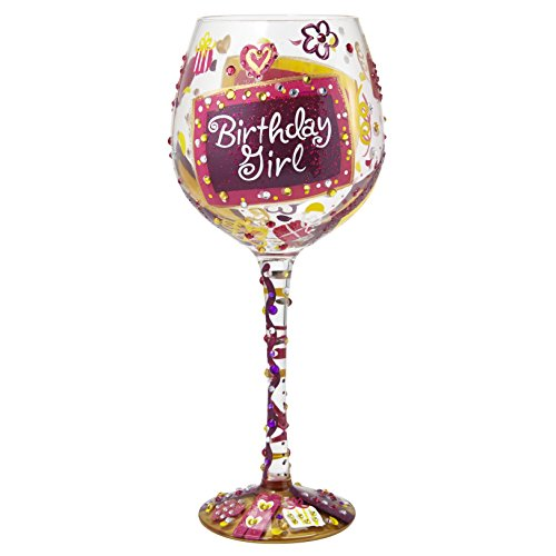 "Designs by Lolita ""Bling Birthday Girl"" Hand-painted Artisan Super Bling Wine Glass, 22 oz."