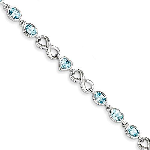 Ovale-Coeur-Argent 925/1000-Topaze bleue-JewelryWeb Bracelet