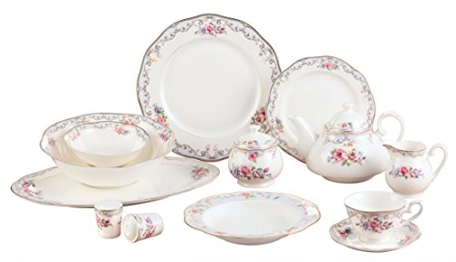 Royalty Porcelain 57-pc Banquet Dinnerware Set for 8, 24K Gold Premium Bone China (ROMANTIC BLOOM-57)