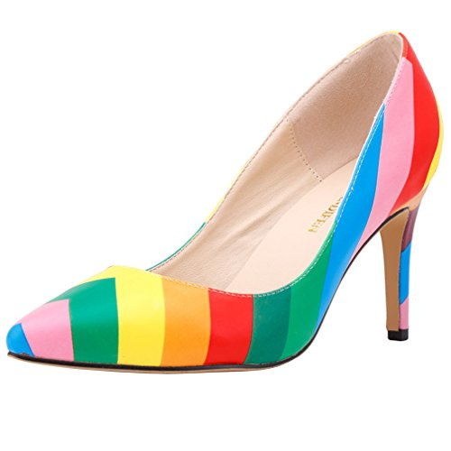 4d994b536b SAMSAY Women Pointed Toe High Heels Dress Pumps Rainbow Shoes new ...