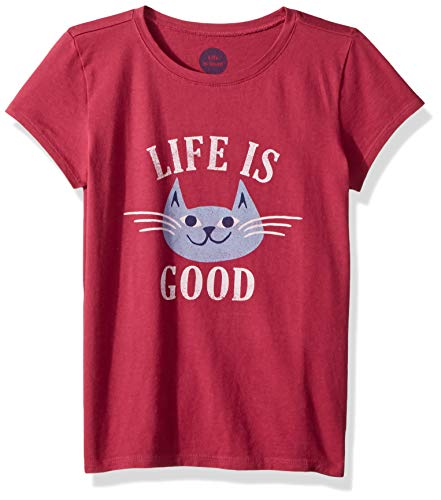 Life is Good Girls Crusher Graphic T-Shirts Collection,Happy Cat,Wild Cherry,X-Large
