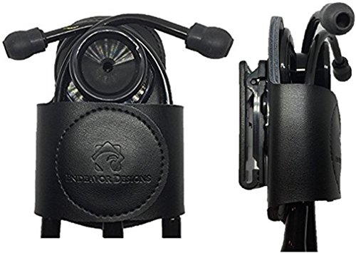 SECURE-A-SCOPE-100% Black Genuine Leather Stethoscope Holder with Rotatable Clip for All Models: ADC, MDF, Adscope, Littmann. Perfect for Physicians, Nurses, EMT, Medical Nursing Students. by Endeavor Designs