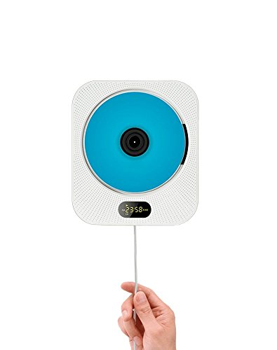 AGPTek ECHLIFE Wandbehang CD Player Vertikale CD Player mit Bluetooth unterstützt MP3, CD, Bluetooth Lautsprecher, mit FM Radio, U Disk,TF Karte, weiss