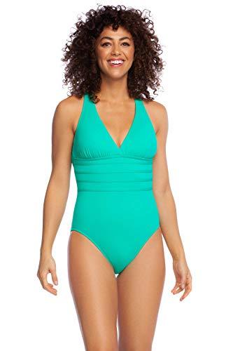 La Blanca Women's Island Goddess Multi Strap Cross Back One Piece Swimsuit, Sea Green, 6