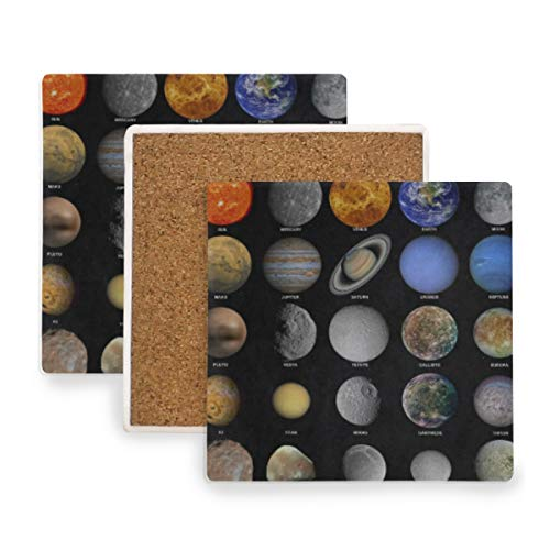 Outer Space Solar System Coasters, Prevent Furniture from Dirty and Scratched, Square Wood Coasters Set Suitable for Kinds of Mugs and Cups, Living Room Decorations Gift Set of 4