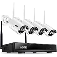 ZOSI 1280x720P HD Wireless 1MP Security Network Camera with 4 Channel 960P Wifi NVR CCTV Surveillance Systems Support Smartphone Remote view NO Hard Drive, 100 Night Vision (Certified Refurbished)