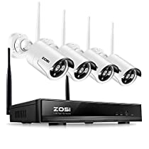 ZOSI 1280x720P HD Wireless 1MP Security Network Camera with 4 Channel 960P Wifi NVR CCTV Surveillance Systems Support Smartphone Remote view NO Hard Drive, 100
