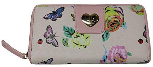 Betsey Johnson Floral Butterflies Zip Around Wallet Clutch