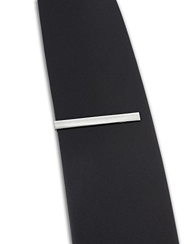 The Executive Tie Bar Clip Brushed Silver Tone with Premium Pinch Clasp + Deluxe Gift Box