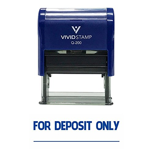 FOR DEPOSIT ONLY Self-Inking Office Rubber Stamp (Blue) - M - Deposit Only Rubber Stamps