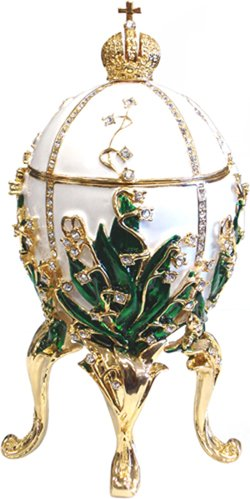 Royal White/Green Faberge Style Collectible Enameled Egg (6010-9)