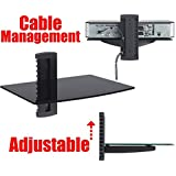 2xhome - 1x Black Floating Shelf with Strengthened Tempered Glass for DVD Players/Cable Boxes/Games Consoles/TV Accessories