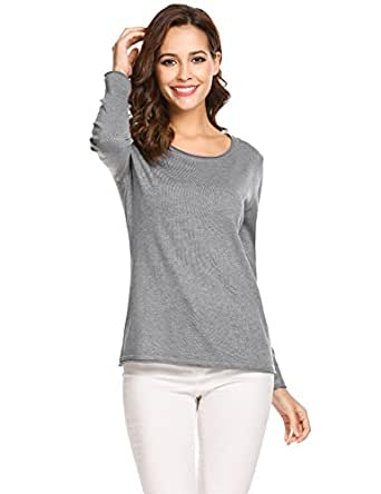 SoTeer Women's Off Shoulder Sweater Casual Long Sleeve Loose Pullover Sweatshirt Winter Tops,Grey,Small