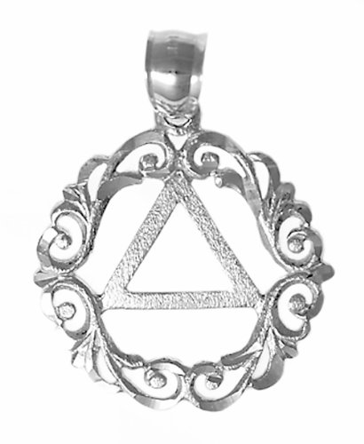 Alcoholics Anonymous Pendant, #834-3, AA Symbol in a Beautiful Scroll Style Circle (sterling-silver) (Circle Scroll Pendant)
