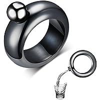 Amzwt Men's Bangle Bracelet and Flask Funny Stainless Steel Hidden Wine Flasket Best Novelty Gift for Father/Husband/Boyfriend(3.5oz Black)