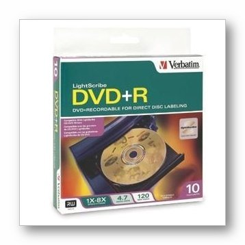UPC 023942951162, Verbatim Light Scribe DVD+R Discs, 4.7GB, 16x, Spindle, Gold, 10/Pack 95116