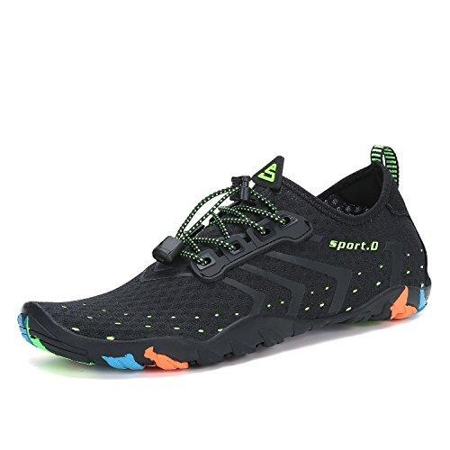 Mens Womens Water Shoes Quick Dry Barefoot for Swim Diving Surf Aqua Sports Pool Beach Walking Yoga Black 10