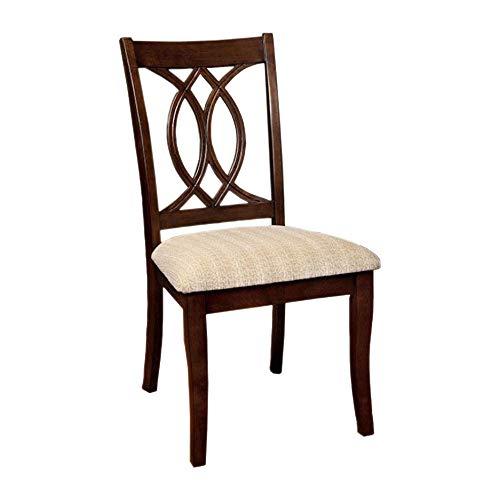 Benzara BM131334, Set of Two, Brown Carlisle Transitional Side Chair (Set of 2), Cherry Finish